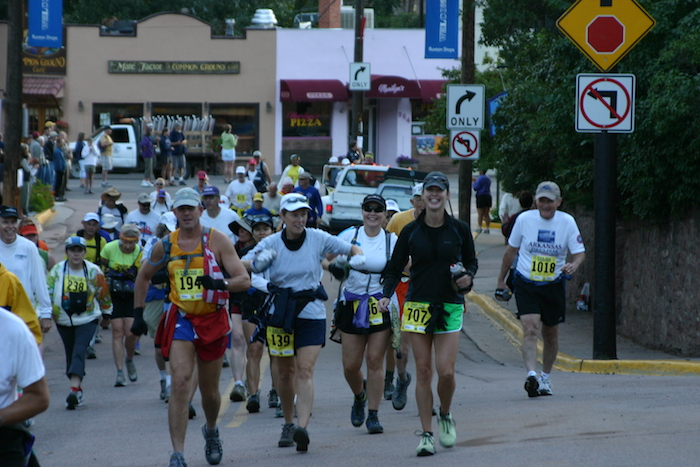Rogue Training Systems runners walking at beginning of 2005 Pikes Peak Marathon.