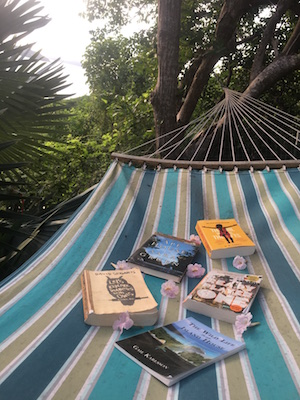 Books in a hammock on St. John USVI with Coral Bay in the background