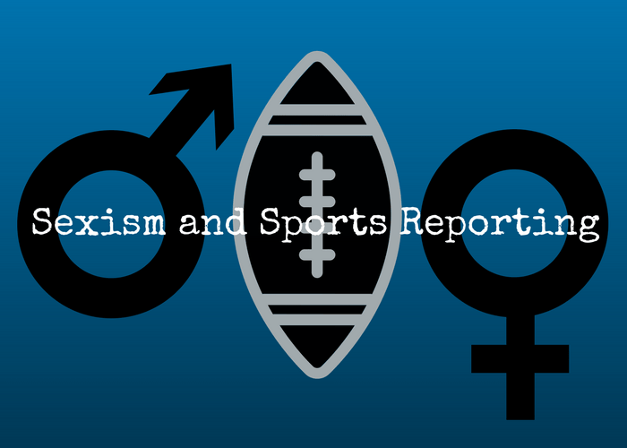 "Male and female symbols with football in-between in Carolina Panthers colors, with text ""Sexism and Sports Reporting"""