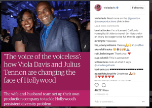 Screenshot of Viola Davis Instagram feed photo with husband Julius Tennon
