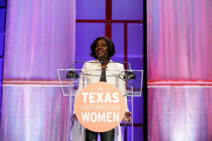 Viola Davis speaking at Texas Conference for Women 2017 at the podium