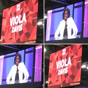 Mosaic of Viola Davis photo and name on screen at Texas Conference for Women 2017