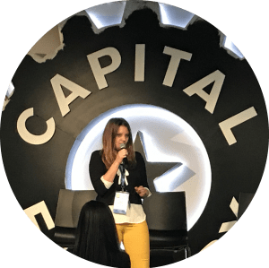 """Anna Westbrook introducing her play """"Isabel and the Runaway Train"""" at SMWATX 2018"""