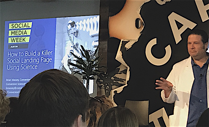 Brian Massey presents on building social landing pages using science at Social Media Week Austin 2018