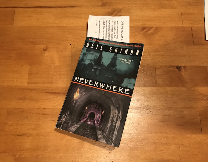 Copy of Neil Gaiman book Neverwhere with London train ticket bookmark