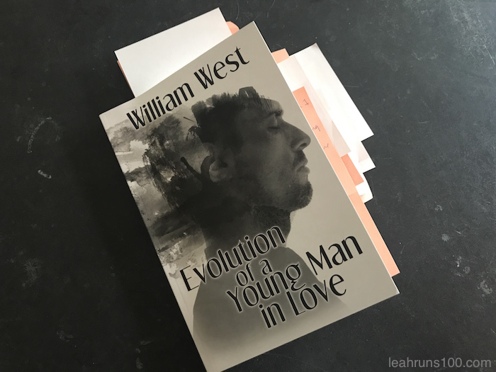 Copy of novel Evolution of a Young Man in Love by William West with Post-Its sticking out