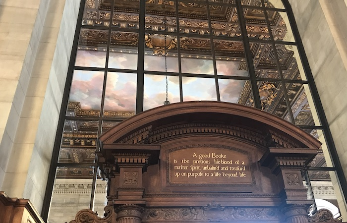 Inscription above NYC Public Library Rose Reading Room doorway