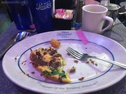 plate with confetti and part of omelette at Ellen's Stardust Diner in New York City