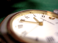 Photo: Clock face green background