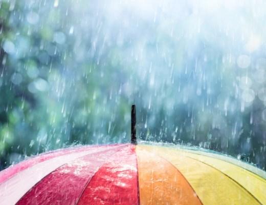 image rain colorful umbrella