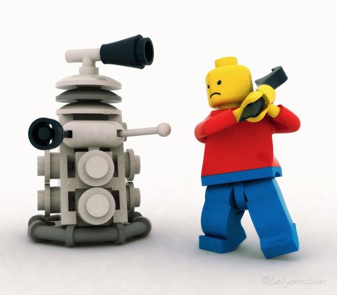 <h4>LEGO Minifigure and Dalek</h4><h5>Illustration</h5><h3>3D</h3><h6><a href='http://leajenn.com/portfolio/lego-minifigure-and-dalek'>Link to this</a></h6> <p>3D scene of a LEGO Minifigure and LEGO Dalek having a