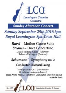 leamington chamber orchestra september 2016 concert