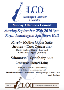 leamington chamber orchestra september 2016 concert