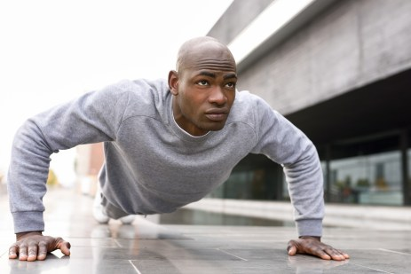 push ups in urban background