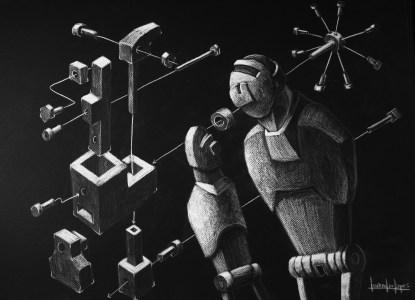 Lápis branco sobre papel negro, 2011