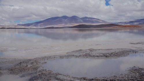 Laguna, montañas y charcos