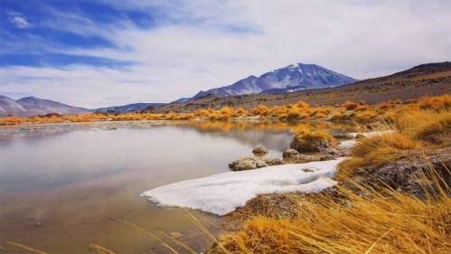 Nieve, laguna y volcán