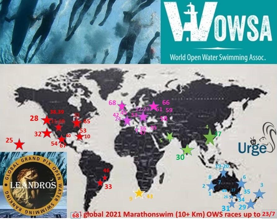 .2021 Global LEANDROS Marathon swim races 1-68 map