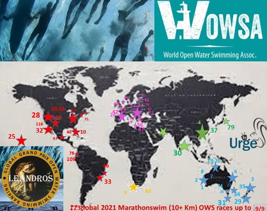.2021 Global LEANDROS Marathon swim races 1-123 map