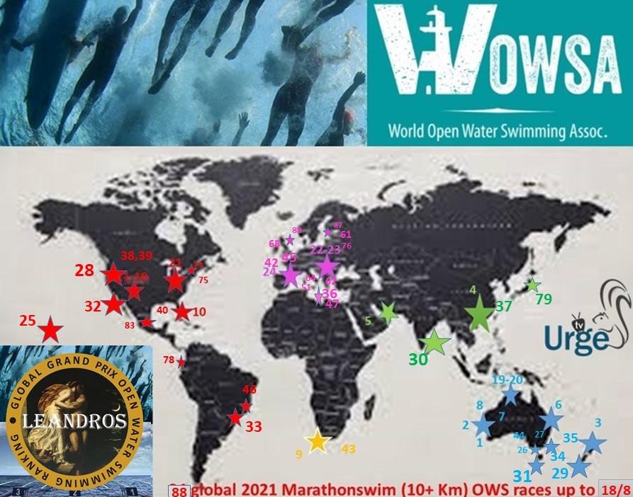 ..2021 Global LEANDROS Marathon swim races 1-88 map
