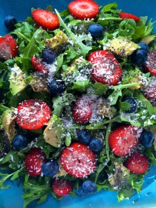 Coconut Berry Chia Arugula Salad