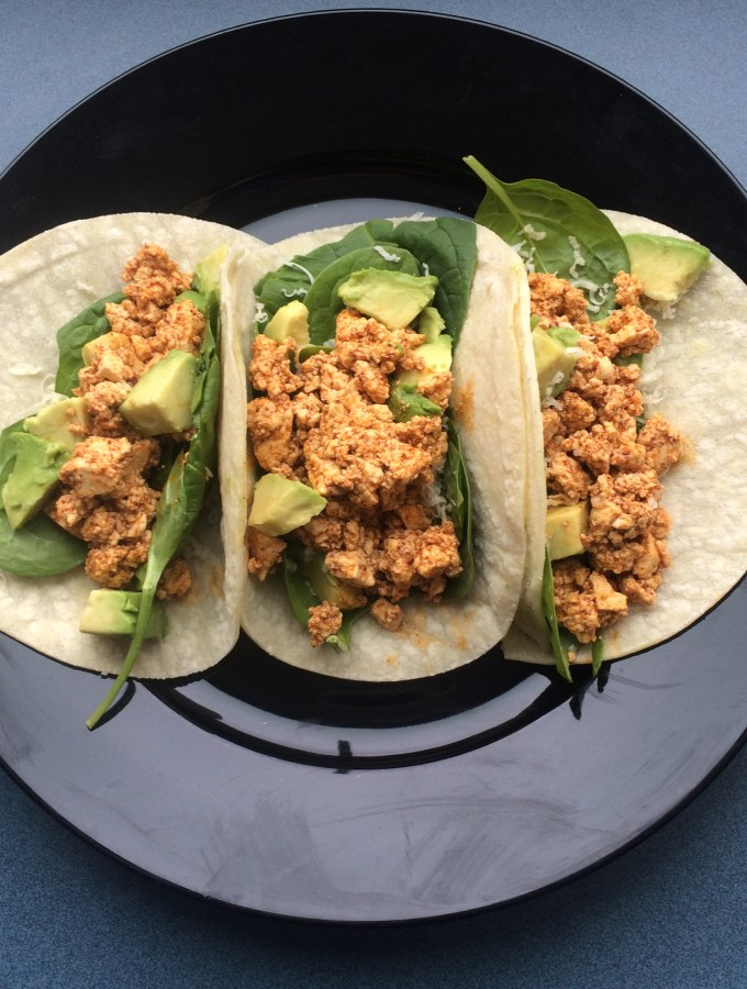 Tofu Tacos with Spinach, Avocado, and Pepper Jack