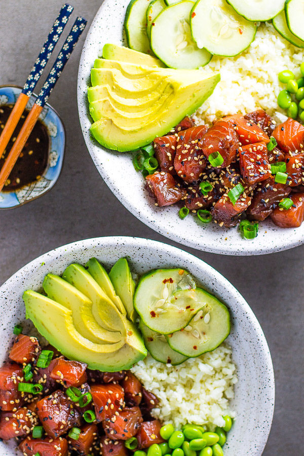 Cauliflower Rice Salmon Poke Bowl