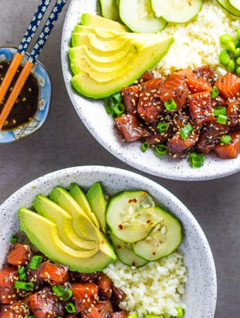 Salmon Poke Bowl with Cauliflower Rice