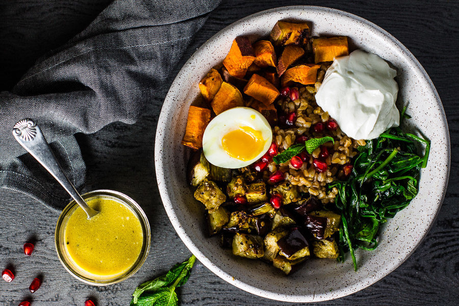 Warm Farro Vegetable Bowl