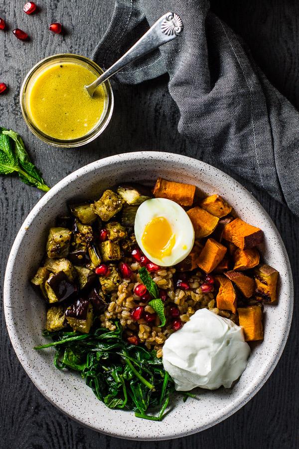 Warm Farro Vegetable Bowl