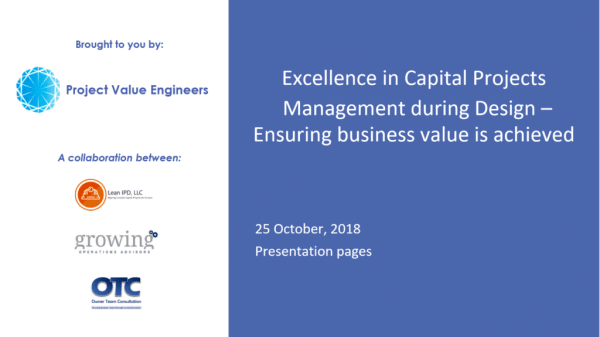 Webinar & Slides: Excellence in Capital Projects – Part 2: Managing During Design
