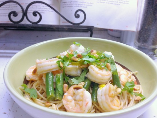 lemon-cilantro shrimp pasta