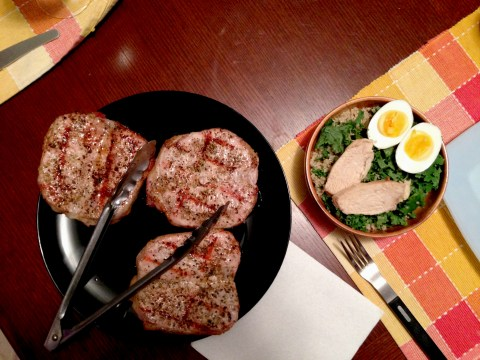 Like these pork chops with kale and quinoa salad on the side