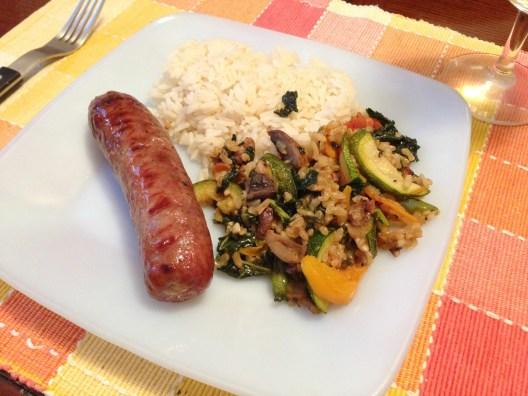 Bratwurst, rice and veggies