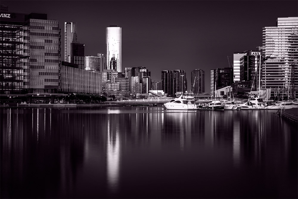 docklands-sunset-golden-hour-longexposure-monochrome