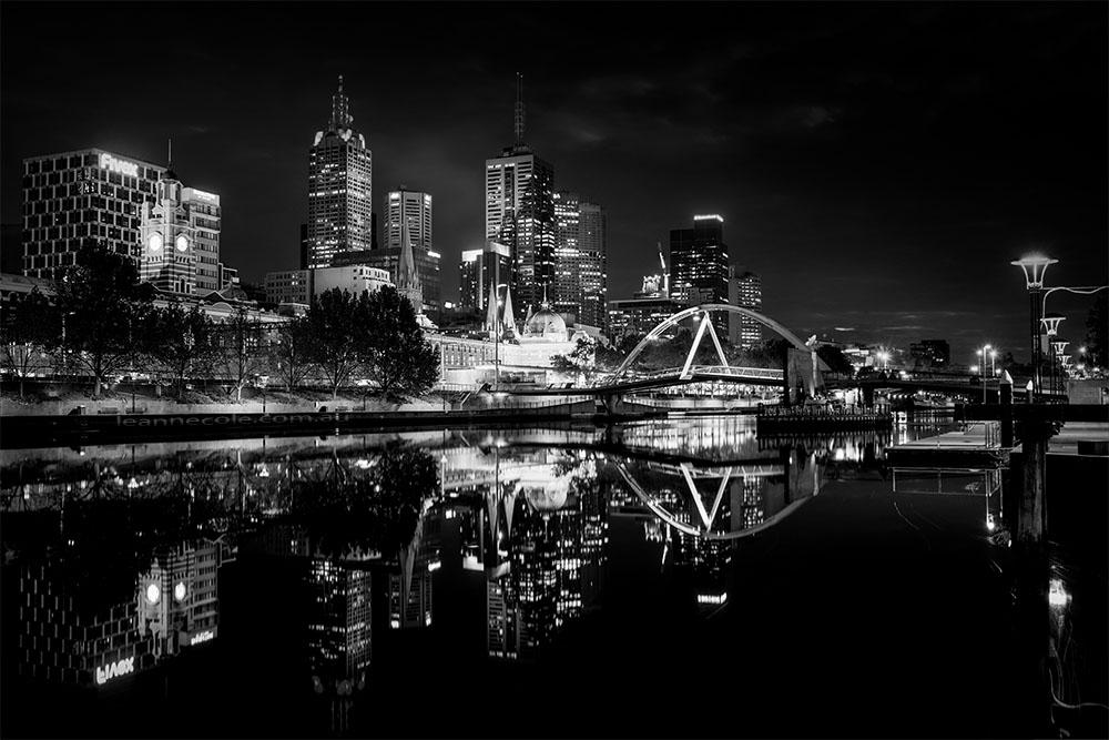 melbourne-skyline-cityscape-reflections-monochrome