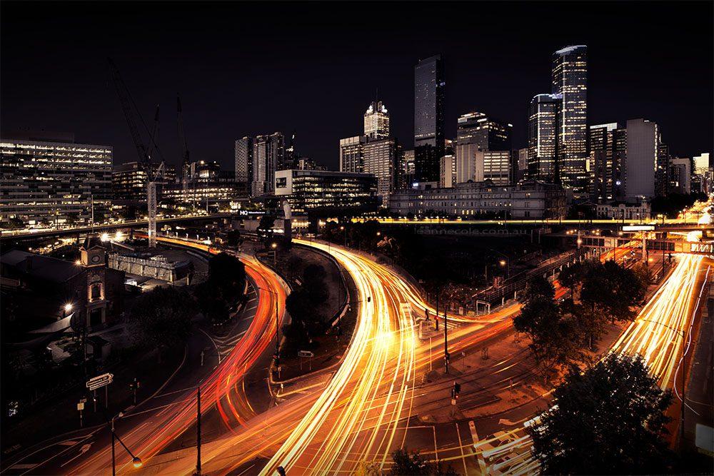 cityscape-light-trails-melbourne-evening