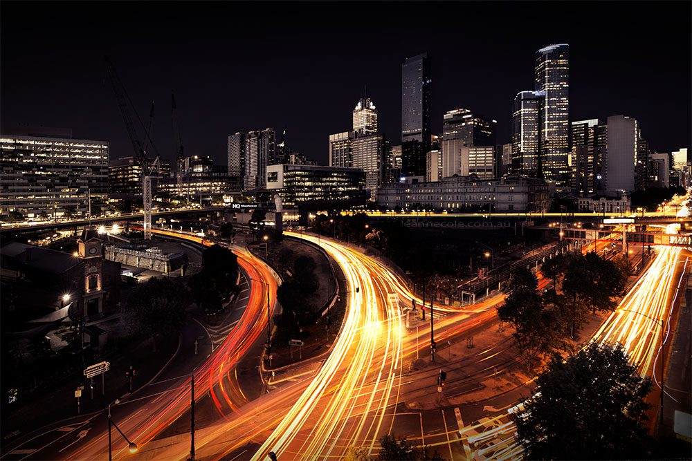 cityscape-light-trails-melbourne-evening