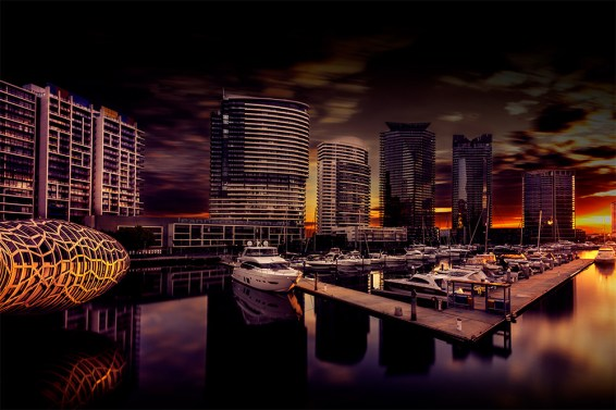 docklands-webbbridge-longexposure-sunset-melbourne