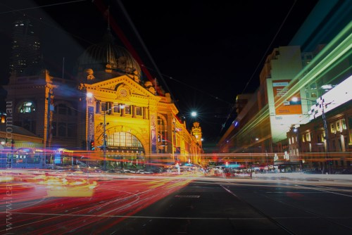 Flinders Streets Station Light Trails. - Learning about long exposure photography