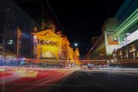 Light trails in front of Flinders Street Station