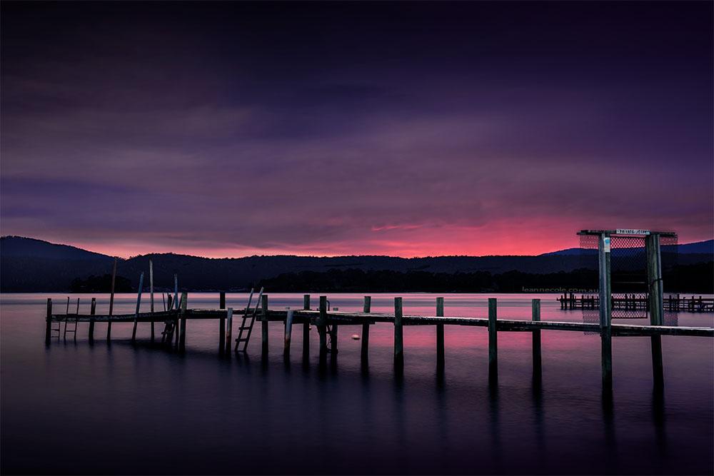 sunrise-portarthur-piers-longexposure-tasmania