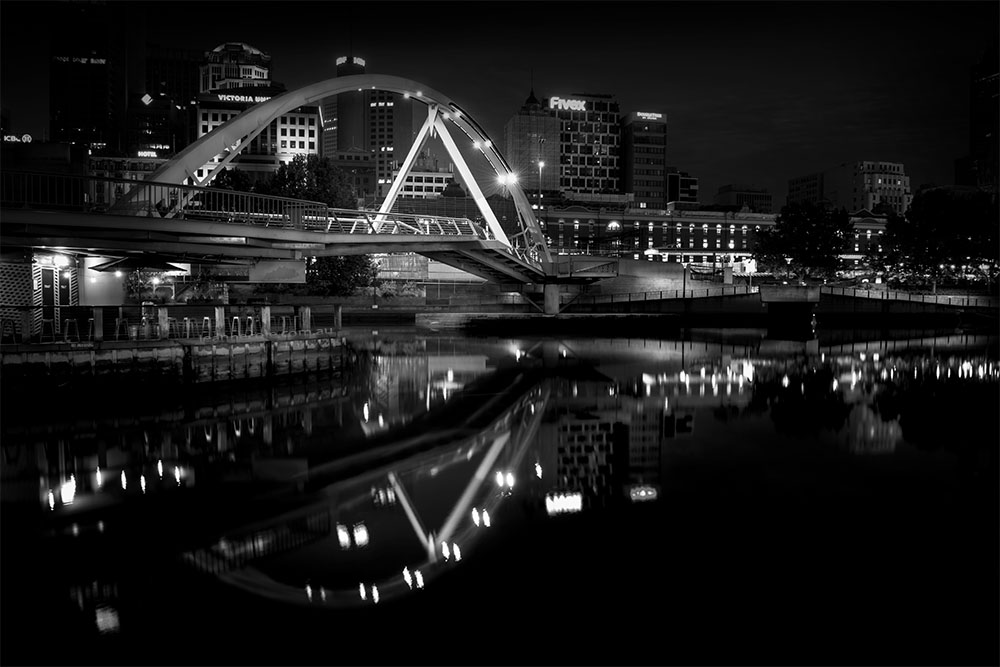 melbourne-morning-river-reflections-monochrome