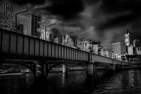 cityscape-clouds-bridge-melbourne-monochrome