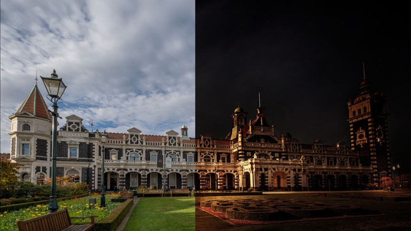 Before and After - Dunedin Train Station