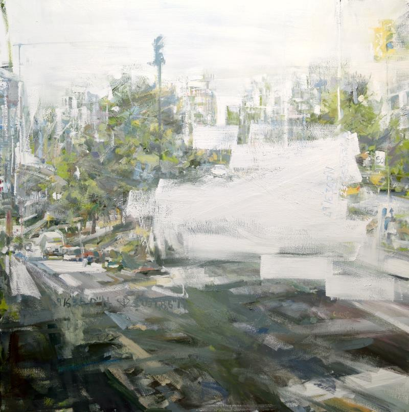 Oil painting of Vancouver Viaducts from artist Leanne M Christie