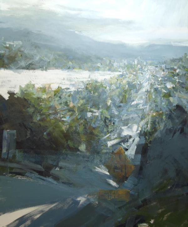 landscape painting of urban viewed from a height by painter leanne christie