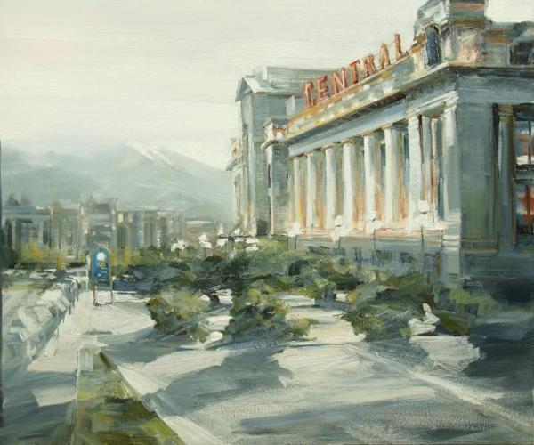 Oil painting of the central pacific train station by leanne m christie