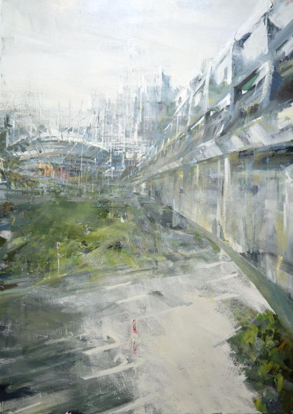 Leanne M Christie first painting of the Vancouver Viaducts