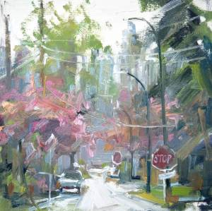 Cherry Blossom oil painting with Burnaby in the background by urban oil painter leanne m christie